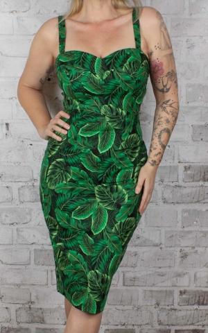 Collectif ANNITA Tropical PINEAPPLE GINGHAM PENCIL Dress KLEID Rockabilly