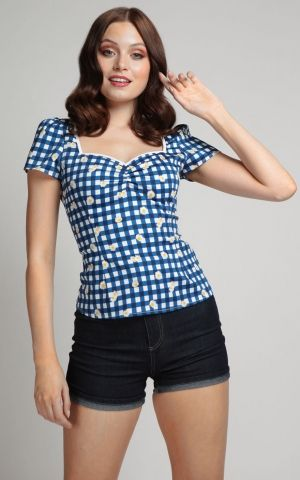 Collectif Vintage Top Mimi Gingham Daisy