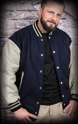 Leather baseball Jacket -blue-