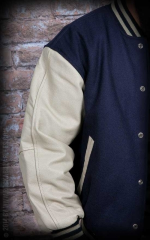 Leather baseball Jacket -bleu-