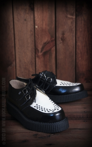 TUK Creeper Black & White Leather Low Sole