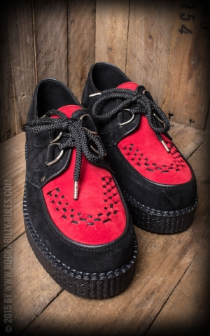 Creeper Single Sole Interlaced Suede Leather, black/red