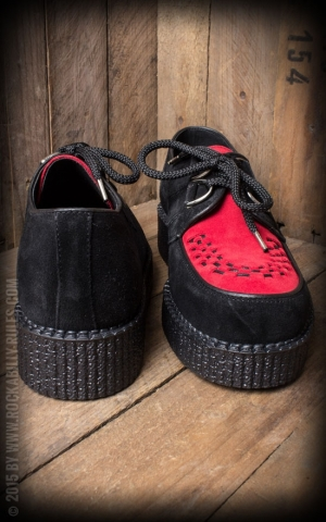 Steelground Creeper Single Sole Interlaced Suede Leather, noir rouge