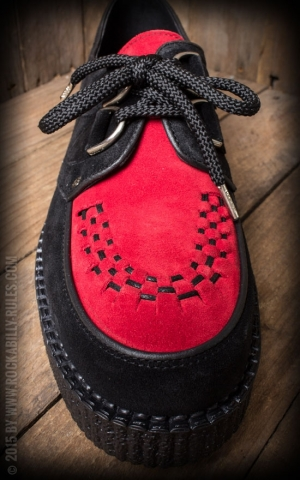 Steelground Creeper Single Sole Interlaced Suede Leather, schwarz rot