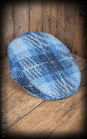 CTH Ericson - Casquette Homme Edward Sr. Harris Tweed Plaid Blue