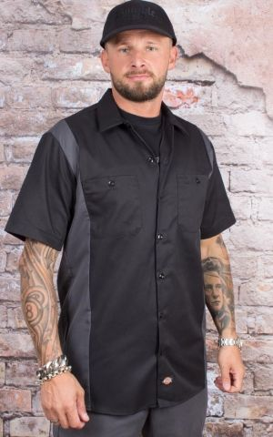 Dickies - Two Tone Work Shirt, black-charcoal