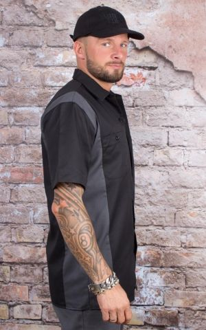 Dickies - Two Tone Worker Hemd, schwarz-grau