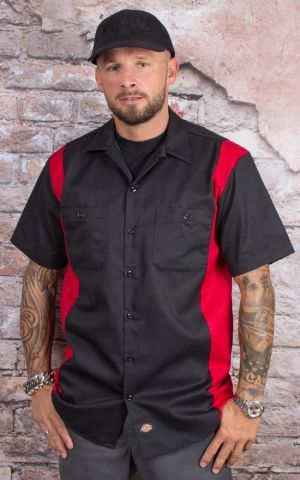 Dickies - Two Tone Work Shirt, black-red