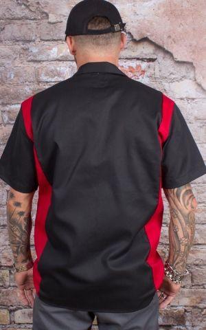 Dickies - Two Tone Worker Hemd, schwarz-rot