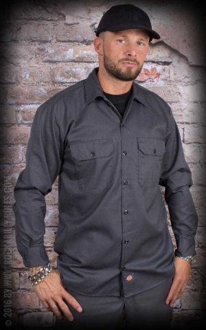 Dickies - Work Shirt Longsleeve, charcoal grey