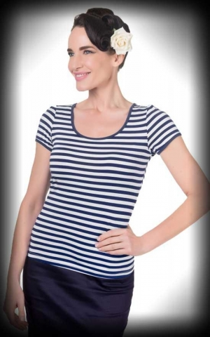 Dolly and Dotty - Striped Girl Shirt Gina, navy white