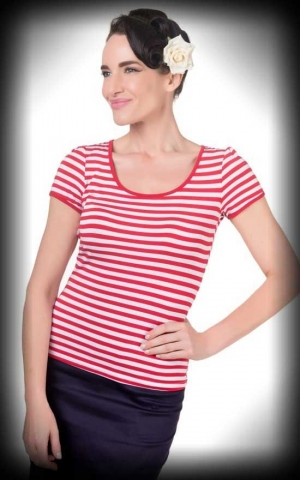 Dolly and Dotty - Striped Girl Shirt Gina, red white