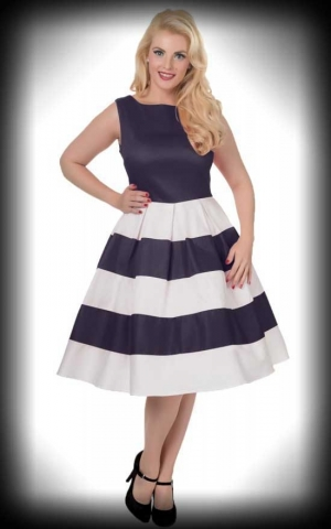 Dolly and Dotty - Anna Stripe Retro Rockabilly Swing Dress, navy offwhite