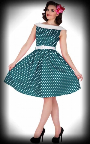 Dolly and Dotty - Cindy Sassy Swing Vintage Polka Dress, turquoise