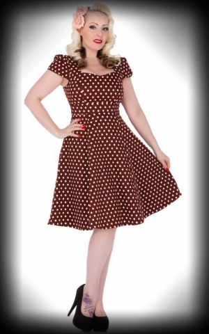 Dolly and Dotty - Flirty Fifties Style Polkadot Dress Claudia, brown