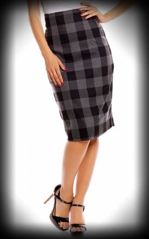 Dolly and Dotty - Vichy Pencil Skirt Falda, grau schwarz