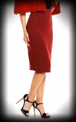 Dolly and Dotty - Vichy Pencil Skirt Falda, red black