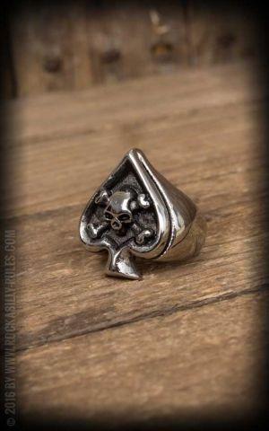 Stainless Steel Ring - Spade Skull