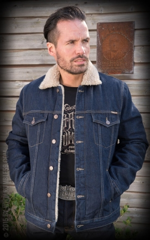 Rumble59 - Male Denim Jacket with teddy-bear cloth
