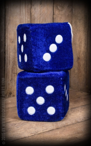 Fuzzy Dice - blau / weiß - BIG