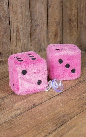 Fuzzy Dice | Peluche Cube, rose noir