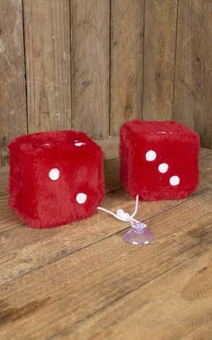 Fuzzy Dice | Peluche Cube, rouge blanche