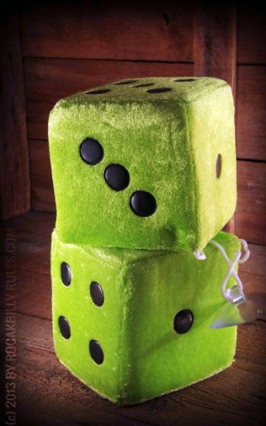 Fuzzy Dice - green / black - BIG