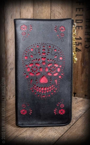 Wallet Purse -  Skull, black-red