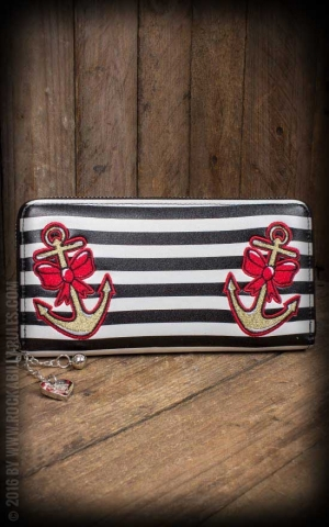 Wallet -  Anchor, black-white striped