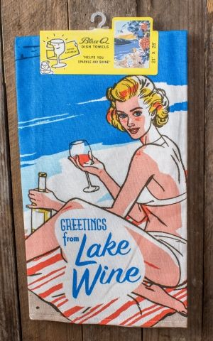 Retro Tea Towels - Greetings From Lake Wine