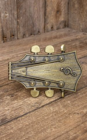 Buckle Guitar head with clef