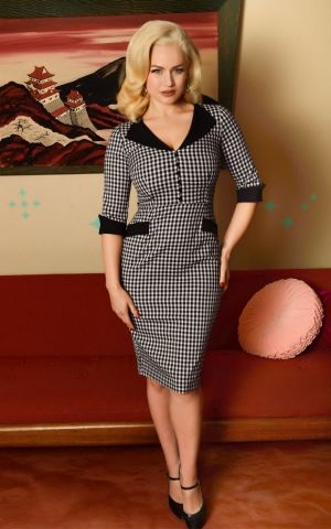 Glamour Bunny - Sarai Pencil Skirt Dress in Gingham