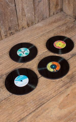 Glas Untersetzer Schallplatte 4er Set