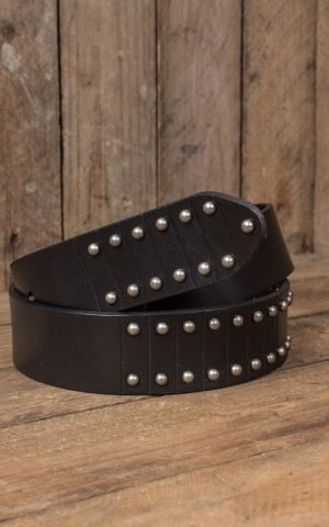 Punk Nails Real Leather Belt black