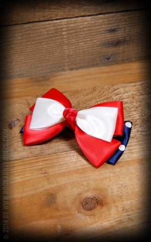 Bow HairClip Polkadot blue white red