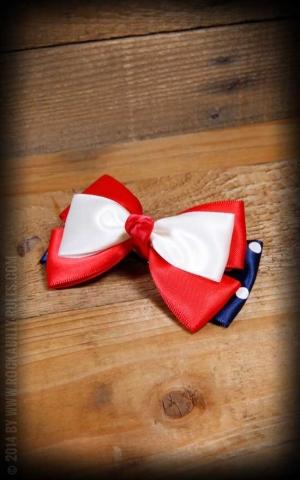 Schleife Haarclip Polkadot blau weiß rot