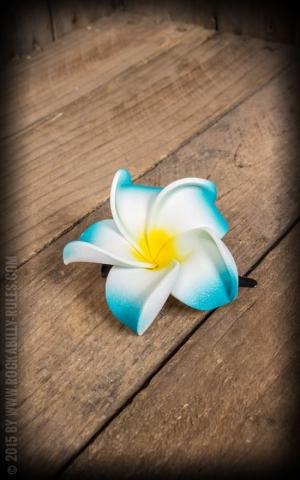HairClip - Frangipani Classic Blossom, turquoise-white, medium