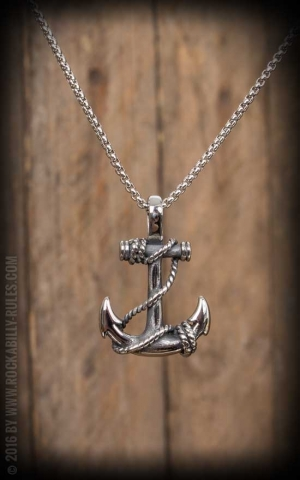 Necklace with pendant - anchor and rope