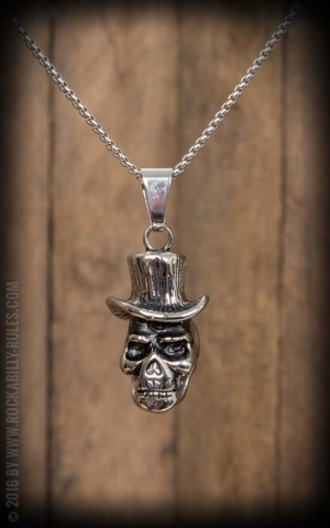 Necklace with pendant - Skull with topper