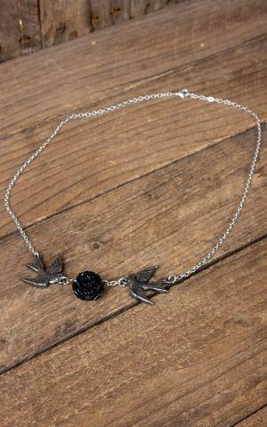 Halskette mit Schwalben und Rose - Love returns