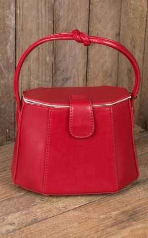 Collectif Handbag 50s Felicity Box Bag, red