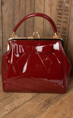 Banned Handbag American Vintage with bow, burgundy