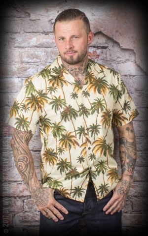Hawaiian Shirt - Hawaiian Palm Trees, maize