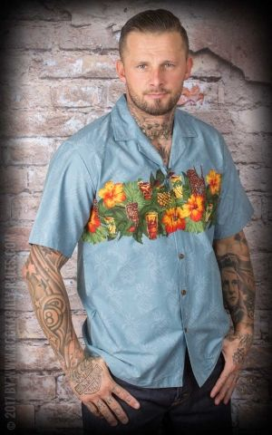 Hawaiian Shirt - Hawaiian Tiki Party, blue