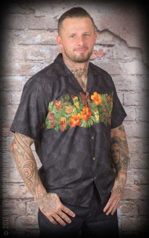 Hawaiian Shirt - Hawaiian Tiki Party, black