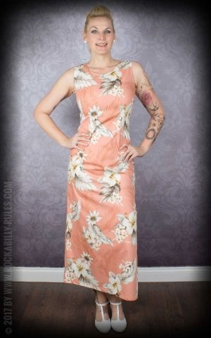 Hawaiian Long Tank Dress Hibiscus, peach