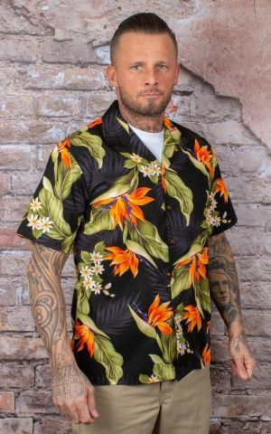 Hawaiian Shirt - parrot flower