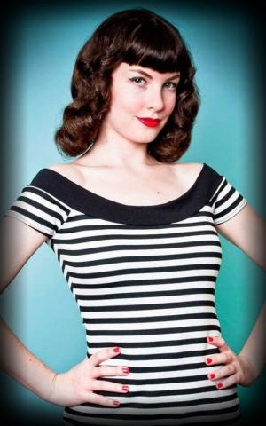 Heart of Haute Carmenshirt Mandie Bee Marilyn, Streifen schwarz weiß