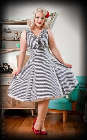 Heart of Haute Kleid - Hilary, Streifen nachtblau weiß