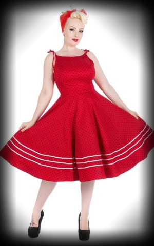 Hearts and Roses Polka Dot Swing Dress - Sabrina